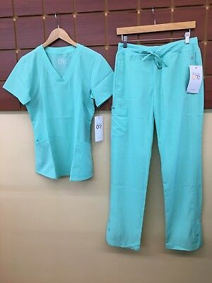 NEW Barco One Aqua Solid Scrubs Set With Small Top & Small Pants NWT