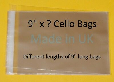 "9"" x ? Cellophane Display Bag - Different Lengths Available"