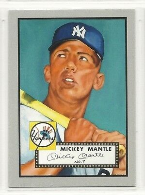 1952 Topps Design ACEO RP Rookie Card - #7 - Mickey Mantle - New York Yankees