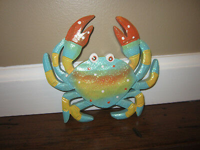 New Crab Wall Hanging Sea Life Turquoise Blue Painted Wood