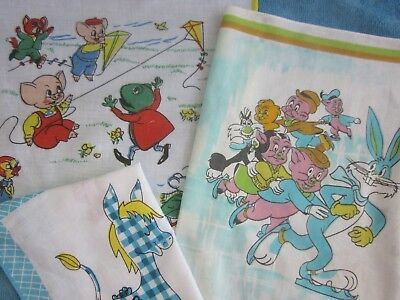 3 vintage childrens HANKERCHIEFS Looney Tunes, Donkey & Pigs Flying a Kite