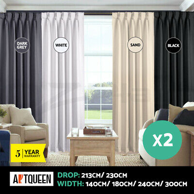 Artqueen 2x Blockout Curtains Eyelet Blackout Pinch Pleat Pair Curtain Set Panel