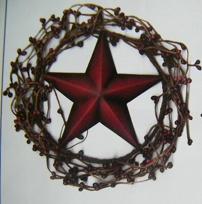 "Country Primitive 8"" Twig BERRY WREATH  AMERICANA metal 5..5"" STAR swag sign"