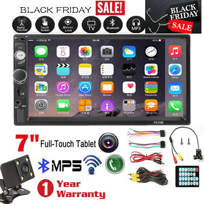 """7"""" Double 2 DIN Car MP5 MP3 Player Bluetooth Touch Screen Stereo Radio Camera US"""