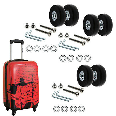 2/ 4 x Luggage Wheels Repair Kit Axles Rubber Deluxe OD 50mm Replacement Metal