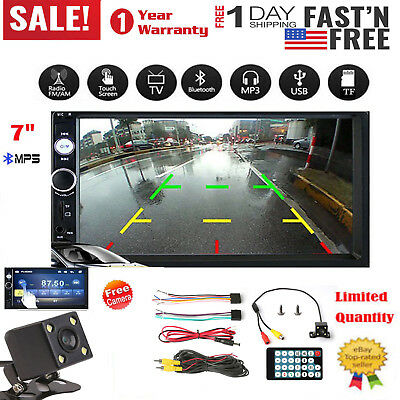 Bluetooth 7inch 2 DIN Car Stereo Mp5 Player Touch Screen Radio HD Rear Camera US