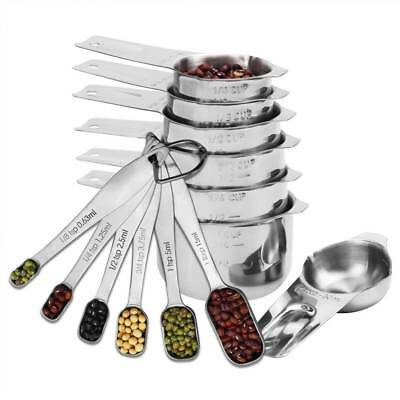 13 Pieces 304 Stainless Steel Measuring Cups and Measuring Spoon Sets Scoops