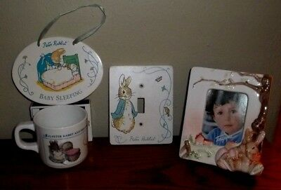 Peter Rabbit Light Switch Plate Cover/Sleeping Sign/2 Photo Albums/Cup/Frame+++