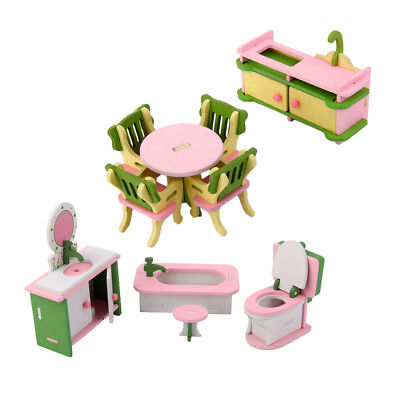 Dollhouse Miniatures Colorful Furniture Wooden Toy Dinning Room Bathroom Set