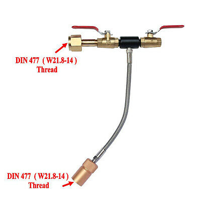 """DIN477 / W21.8-14 CO2 Fill Station with 10"""" High Pressure Hose Dual Valve"""