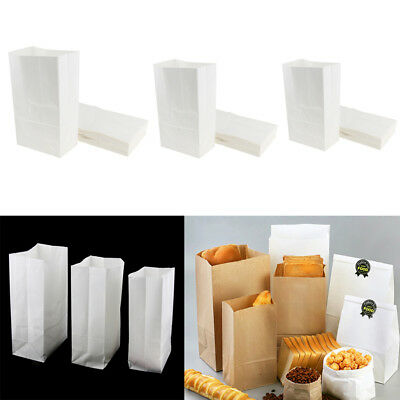 Oilproof Kraft Paper Bakery Snack Fried Food Packing Takeout Bags, White
