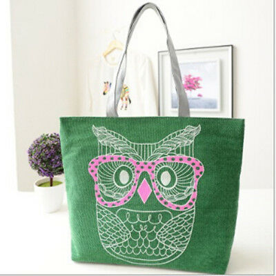 Owl Womens Canvas Capacity Handbag Shopping Shoulder Bag Shopper Tote CO