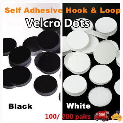 100/200Pairs Self-Adhesive Hook & Loop Sticky Dot /elcro Coin 20mm Nylon Buckle