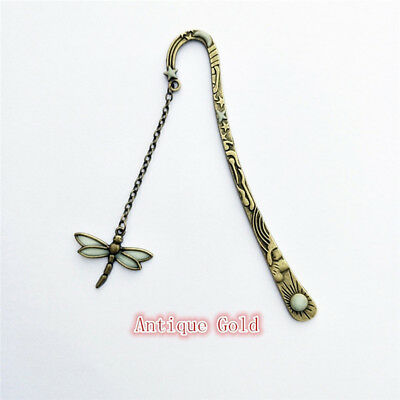 Creative Ancient Silver Luminous Butterfly Vintage Tassel Hairpin Bookmark CB