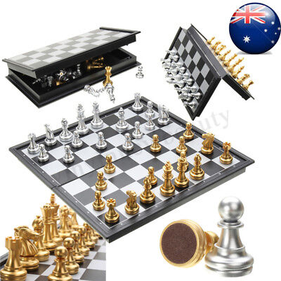 Foldable Magnetic Silver Gold Chess Box Set Educational Board Contemporary Game