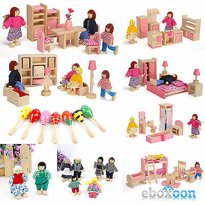 Wooden Furniture Room Set Dolls Miniature House Family For Kid Children Toy Gift