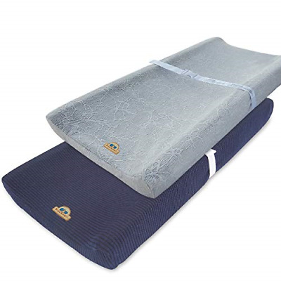 Ultra Soft and Stretchy Changing Pad Cover 2pk by BlueSnail Gray+Navy
