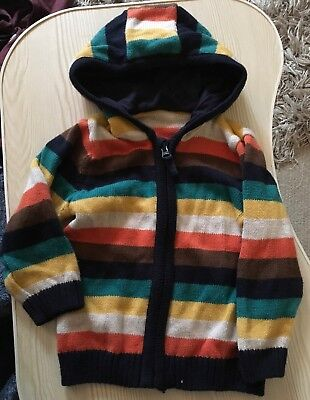 Baby Boys Zip Up Knitted Hoodie Age 9-12 Months From TU Multi Coloured Worn!!