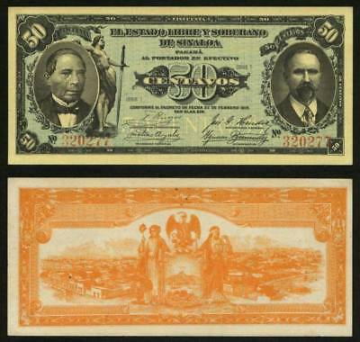 1915 Currency Series I State of Sinaloa Mexico 50 Centavos Banknote P# S1042 CU