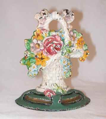 Vintage Small Cast Iron Doorstop Flowers in French Basket National Foundry?