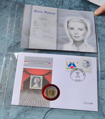 Monaco 2 Euro 2012 , Numisbrief * Albert II. + Briefmarken LOVE + GRACE KELLY