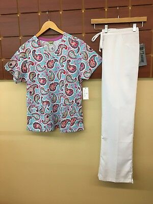NEW White Print Scrubs Set With Large Top & Grey's Anatomy Large Tall Pants NWT