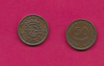 Angola Portuguese Colony 50 Centavos 1954 Xf Five Crowns Above Arms,date Below,