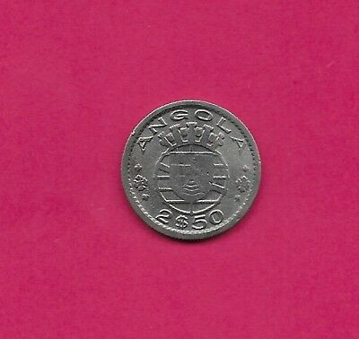 Angola Portuguese Colony 2$50 Escudos 1953 Vf-Xf Five Crowns Above Arms And Date