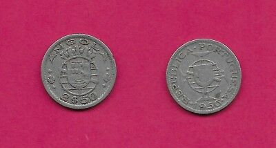 Angola Portuguese Colony 2$50 Escudos 1956 Vf-Xf Five Crowns Above Arms And Date