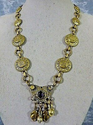 Antique Brass Victorian Fancy Amethyst Glass Dangle Necklace  L@@K