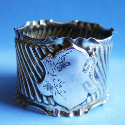 Lovely Antique Sterling SILVER Delicate Engraving Flowers Napkin Ring!