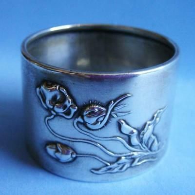 Lovely Art Nouveau Antique Sterling SILVER Flowers Blossom Plants Napkin Ring!