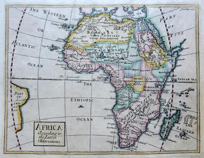 AFRICA BY JOHN SENEX c1741 GENUINE ANTIQUE COPPER ENGRAVED MAP