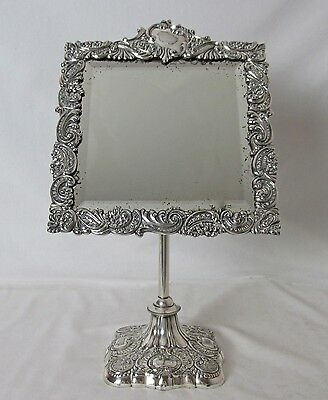 1860'S Silver Plated Repousse Shaving Or Table Mirror Adjustable