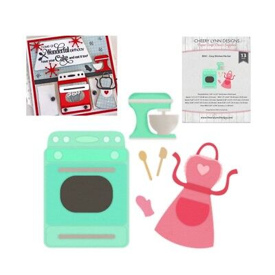 Cozy Kitchen Metal Die Set Oven Stove Mixer Apron Cheery Lynn Cutting Dies B941