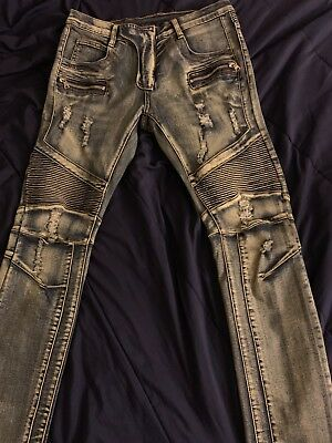110f061f BALMAIN BLUE DENIM Biker Authentic $1050 Jeans Size 28 Slim Fit New ...