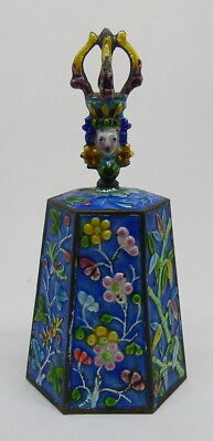 Antique Enameled Chinese Figural Geisha Woman Dinner Table Bell ~ Free Ship