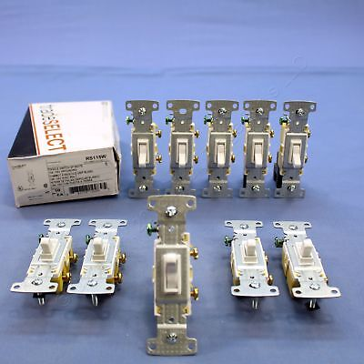 10 Hubbell RESIDENTIAL White Single Pole Toggle Wall Light Switches 15A RS115W