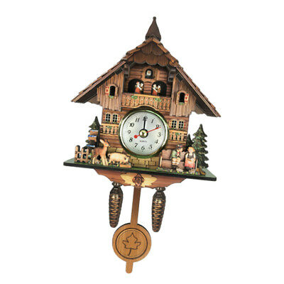 Antique Cuckoo Wall Clock Vintage Wooden Clock Home Decor Excellent Gift J