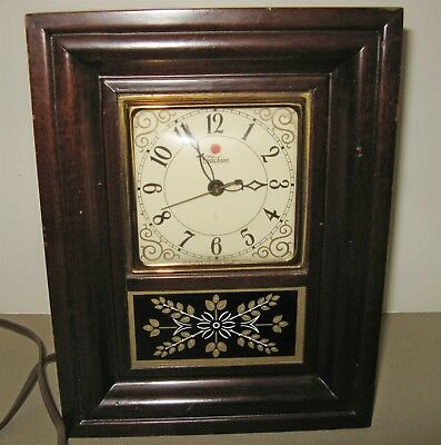 1950s TELECHRON MAHOGANY CASE MANTLE CLOCK Electric #3H161 Convex Glass Working