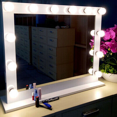 HOT Hollywood Makeup Vanity Mirror with Light Dimmer Stage Beauty Mirror White