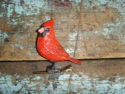"""Little red approx. 3"""" cardinal red bird plastic clip on decoration winter cute"""