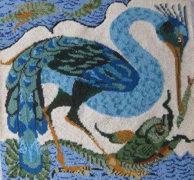 Completed Ehrman Tapestry. Bird Catching a Fish by Neil McCallum