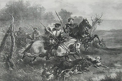 1874 Two Large Antique Prints  - WILD-BOAR HUNTING - Northern Albania & Medieval