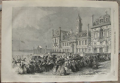 1859 Two Large Antique Engravings- Inauguration of Wellington College, Berkshire