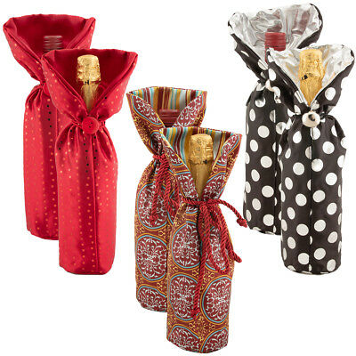 6pk Fabric Wine Bottle Gift Bags Bulk Set Reusable Travel Tote Holiday Supplies