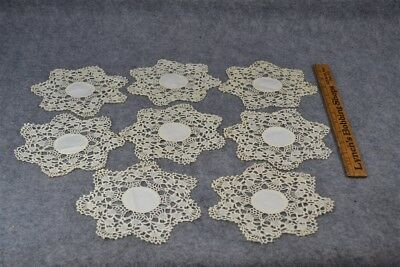 doilies cotton net needle lace Victorian 8 matching 6 in. white antique vg