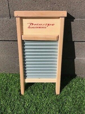 Hand wash wooden stainless steel corrugated wash board - small