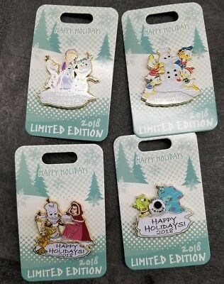 Disney Happy Holiday 2018 Pin lot: Frozen, Belle, Monsters Inc, Donald Duck LE