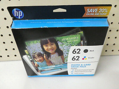 HP 62 BLACK & COLOR INK CARTRIDGE FACTORY SEALED (1 COMBO-PACK) Dated JAN.2020